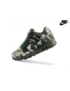 Unisexe Chaussures De Courses Nike Air Max 90 Hyperfuse Premium Lg Kpu Camouflage Version Vert Blanche