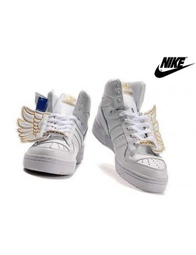 Baskets Adidas Jeremy Scott Wings Femme Doré Blanche