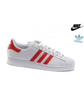 Promotion Chaussures Adidas Superstar 2 Femme Homme Cuir Blanche Rouge