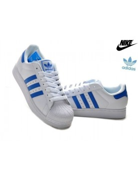 Promotion Chaussures Adidas Superstar 2 Femme Homme Cuir Blanche Royal Bleu