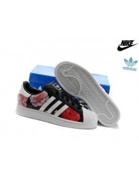 Promotion Chaussures Adidas Superstar Femme d65474 Noir Blanche Rouge Rose
