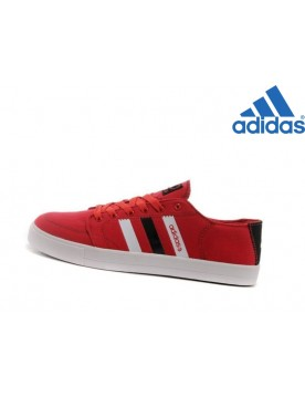 Chaussures Homme Vente Privée Adidas Neo Low Toile Rouge Blanche Noir