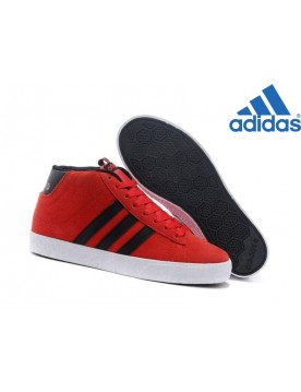 Chaussures Homme Vente Privée Adidas Neo High Suede Rouge Noir Blanche