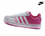 Promotion Chaussures Adidas Superstar 2.5 Femme Blanche Rose Flash