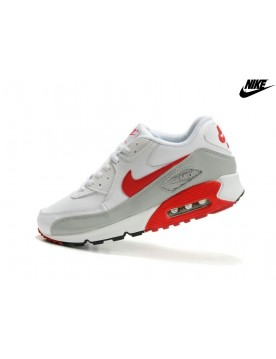 Femme Chaussures Nike Soldes Air Max 90 Blanche/Gris/Rouge