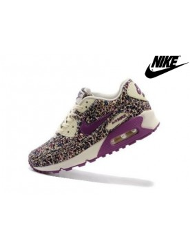 Femme Baskets Soldes Nike Air Max 90 Liberty Violet Print Blanche