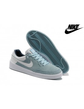Nike Street Gato Ac Suede Soldes Chaussures De Sport Homme Low Ice Bleu Blanche
